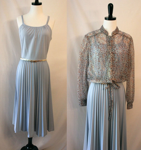 Vintage Ice Blue Grecian Goddess Dress with Blouse - My Latest Leslie Fay