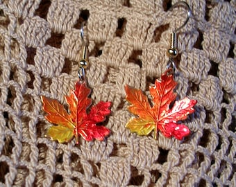 Hand Painted Vermont Maple Leaf Earrings. Large