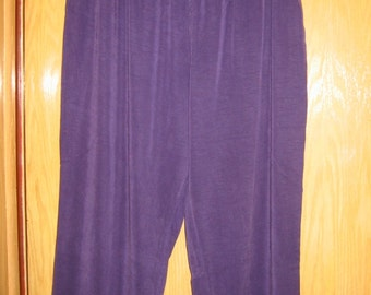 vintage womens purple  'Fenini'  rayon and tencel slacks . . plus size 3X . . never worn . . made in the USA