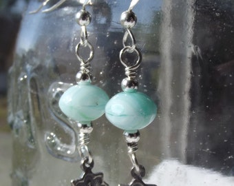 Miraculous Medal Earrings Sterling w Chinese Glass