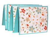 Note Cards, Boxed Note Cards, Floral Notecards, Aqua and Coral, Floral Stationery