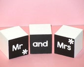 Black and White Wooden Mr and Mrs Wedding Blocks for Christmas Gift, Photo Prop or Head Table. Great Engagement, Wedding or Anniversary Gift