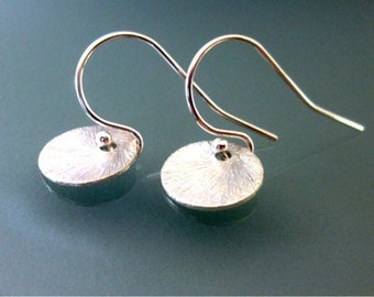 Minimalist Sterling Silver Brushed Disc Earrings