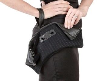 Womens' Metallic Pin Strip and Black Leather Foldover Wristlet Clutch Purse