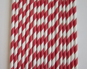Ruby Red Striped Paper Drinking Straws