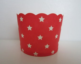 24 Red with White star scalloped Portion Nut Favor Baking Cup