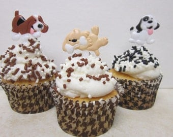 12 Puppy Cupcake Toppers