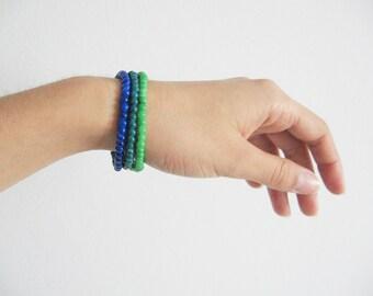 Blue green bracelet- autumn fashion bracelets- vivid blue, green, dar turquoise