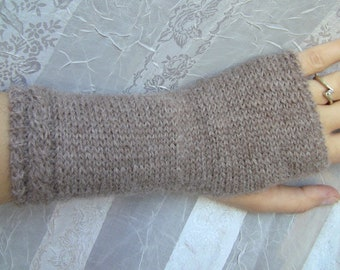 Alpaca Knit Fingerless Mittens / Baby Alpaca Gloves