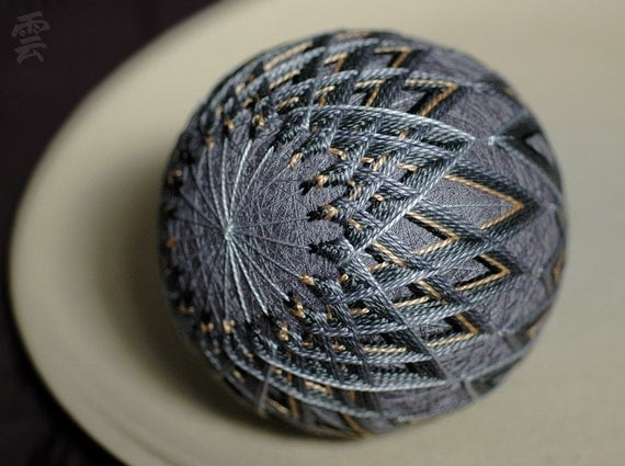 A Hunch is Creativity - Japanese temari - zen home decor ornament - gray grey black yellow embroidery - crafting for a cause