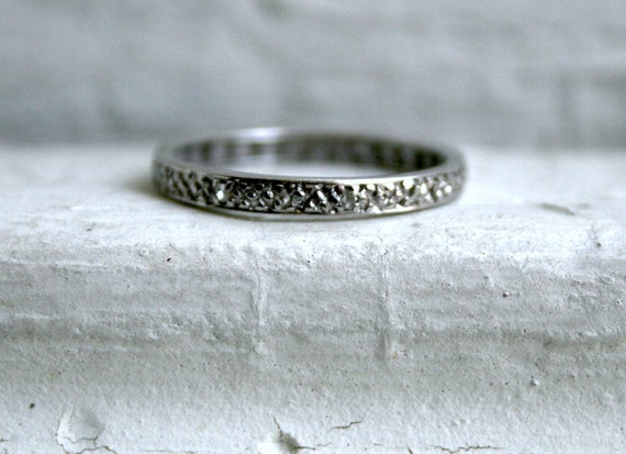 RESERVED - Vintage 9K White Gold Pave Diamond Eternity Wedding Band.
