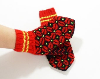 Hand Knitted Mittens - Red and Black, Size Large
