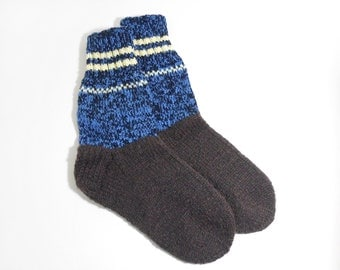 Hand Knitted Wool Socks - Blue and Brown, Size Large