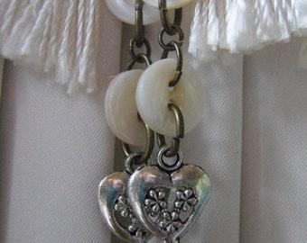 Minimalist Heart Dangle Earrings/ Mother of Pearl Button Jewelry Valentine Heart