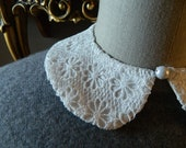 White Lace Peter Pan Collar Necklace with Jewelry Closure Back