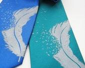 Birds leaving the feather microfiber silk screen necktie. Screen printed bird tie with silver ink.
