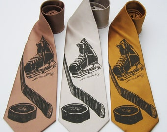 Hockey silkscreen neckties. Microfiber screen printed hockey tie dark brown ink.