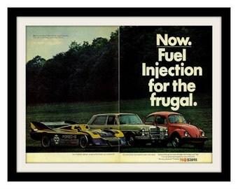 1975 VOLKSWAGEN Beetle & Porsche Car Ad, Vintage Advertisement Art Print