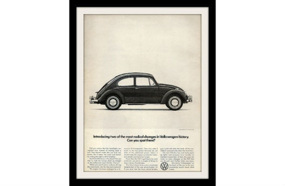 "1966 VOLKSWAGEN Beetle Ad  ""Radical Changes"" Vintage Advertisement Decor Print"
