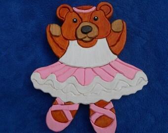 Ballerina Teddy Bear. Wooden Teddy Bear, Segmentation, Wall Hanging, Home Decor, Handpainted