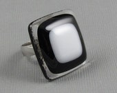 Fused Glass Ring - Clear, Black and White - Adjustable Silver Ring (205)