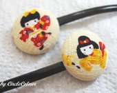 SALE 10% off - Japanese Kimono Bobby Pin - Fabric Covered Button Hair Pin - Very Comfortable Black Tone Slip Free Clip