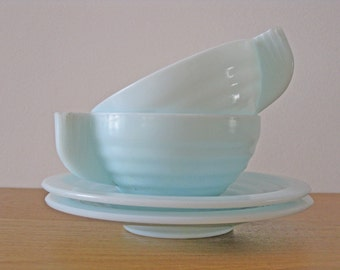 Pale blue milkglass cups and saucers, pair of Art Deco style teacups