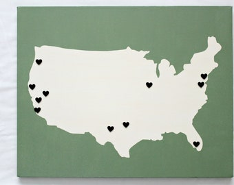 United States DIY Customize Map -16X20 Canvas Acrylic Painting, Wall Art, Decor Olive Green