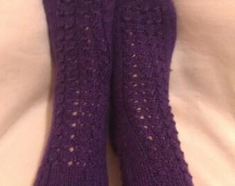 50% Off Sale - Dark Purple Handmade Knit Home Socks/Knitting Slippers