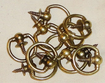 10 Large Brass Picture Frame Hooks - 190 total