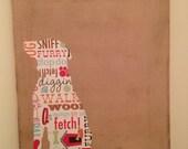 sitting dog art on canvas - golden retriever SAMPLE SHOWN