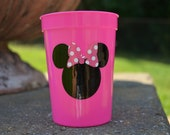 5 Minnie Mouse pink and white polka dot bow pink  cup