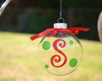 Small Initial Christmas Ornament with ribbon