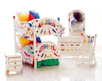 COLOR ME FUN Bunk Bed Set Dollhouse Miniature Brightly Rainbow Colors Hand-Painted Crayon Theme Custom Dressed 1:12