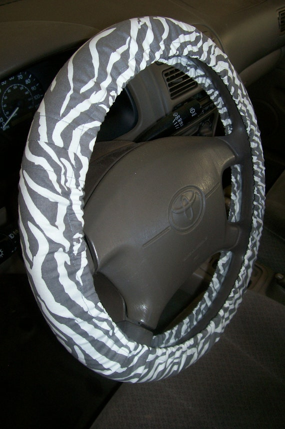 Zebra Gray and White Steering Wheel Cover
