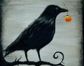 "Halloween art, ""Crow's Treasure"" digital art print"