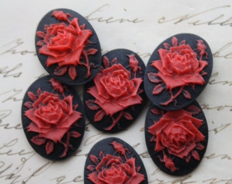 6 unset rose cameos - Red on black - 25x18mm