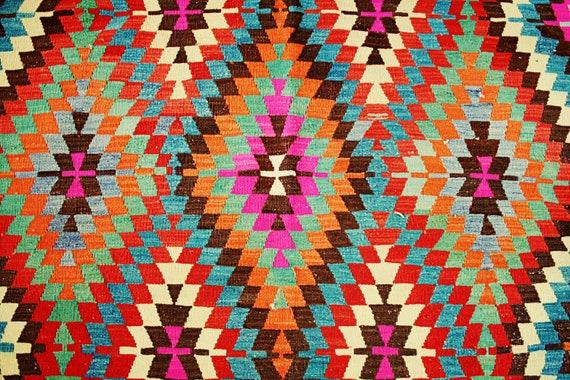 Vintage Turkish Kilim Rug / Pink Orange Blue Red