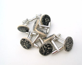 Cuff links black ceramic Indian wood block print unique gift for men