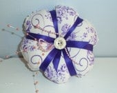 Pincushion-  Shabby Royal Purple - All Vintage materials