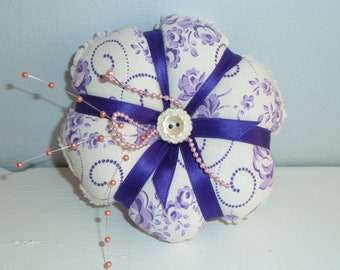 SALE---Pincushion-  Shabby Royal Purple - All Vintage materials
