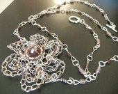 Purple and Silver Long Necklace with Wire Crochet Flower