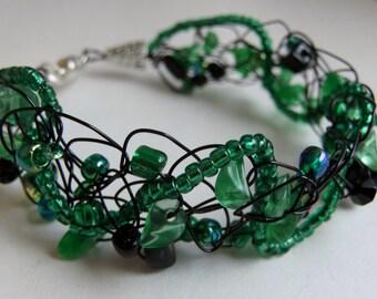 Black and Kelly Green Wire Crochet Bracelet
