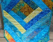 Vibrant Batik Table Runner, Strip pieced quilted table runner, teal and gold