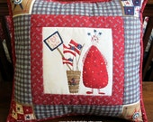 """Patriotic Throw Pillow, Patriotic Quilted Pillow, Red, White and Blue, """"American Flags for Sale"""""""