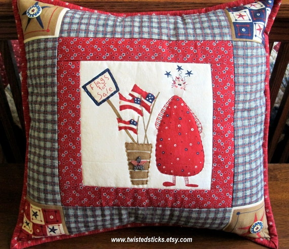White Quilted Decorative Pillows : Items similar to Patriotic Throw Pillow, Patriotic Quilted Pillow, Red, White and Blue ...