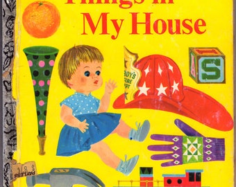 ON SALE - Things in My House -  Vintage Little Golden Book - American Edition - 1960s