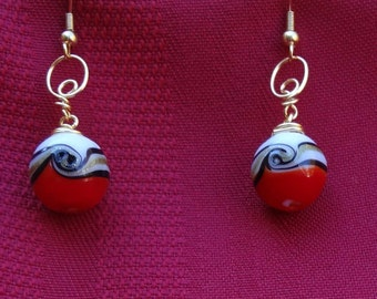 Red, White and Gold Glass Wire Wrapped Earrings