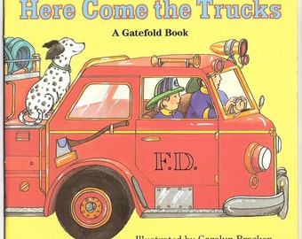 Here Come the Trucks Vintage Golden Book Illustrated by Carolyn Bracken