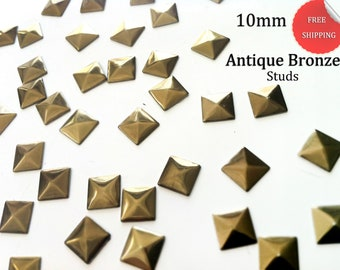 500 Bronze Pyramid  Square Studs for Iron On, Hot Fix 10 mm